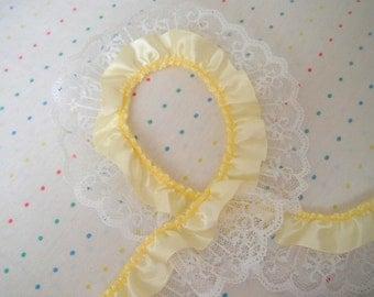 "Destash Yellow Satin and White Lace Ruffle Trim, 2"" Wide - 2 Feet"