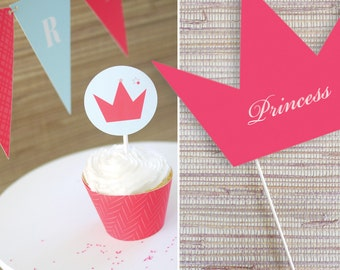Princess Tale Kids Party Printable Package - Kids Party Decor, Princess Party Items, Girls Birthday Parties