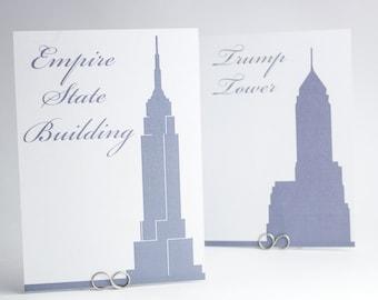 NYC - New York Famous Landmark Silhouette Table Cards for Weddings - Modern Art Deco Glam