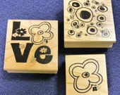 Fantastic Funky Flowers & Love - Retro Style Set of 3 New WM Rubber Stamps - Cards - Collage - Scrapbooks - FREE Shipping