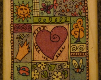 Springtime Collage with Heart - New WM Rubber Stamp - Scrapbooks - Cards -  ATC - FREE Shipping