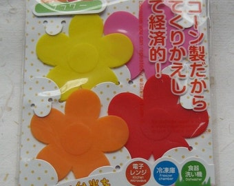 Set of 4 Japanese Silicone Food Dividers - Baran - Flowers for Bento Box Lunch Snacks