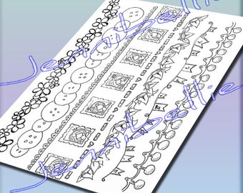 Colour Me In: Border Strips, Digital Collage Sheet by Jennibellie