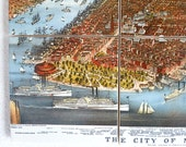 Antique New York City Map Coaster Set - UNique Fathers Day Gift