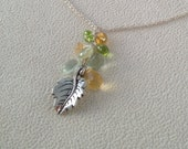 Citrine, Peridot, Green Amethyst, Green Flourite and Prehnite Autumn Leaf Pendant in Sterling Silver