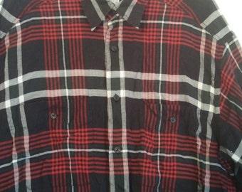 Liz Claiborne menswear dress shirt american gigolo punk button down shirt L XL new wave 44 46  grunge plaid tartan boho