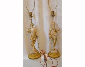 Pair Tall Art Nouveau Spelt Regency Figural Lamps