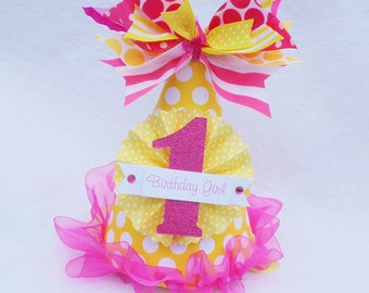 You Are My Sunshine Birthday Party Hat in Yellow and Hot Pink Polka Dot