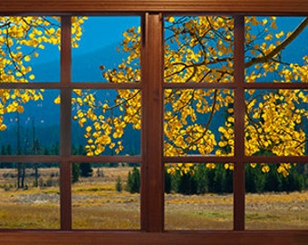 Wall mural window, self adhesive, Colorado window view-3 sizes available- Rocky Mountain Park View - free US shipping