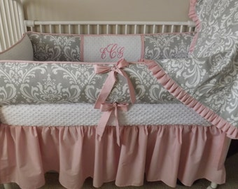 Pink and GRay damask Baby bedding Crib set FUll payment