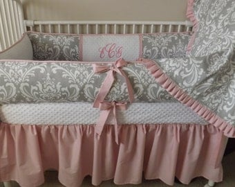 Baby bedding girl Crib set Pink and GRay damask Baby girl FUll payment for bumper and skirt