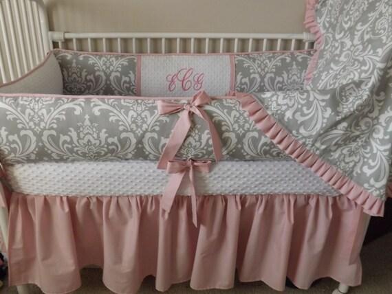 Baby Bedding Girl Crib Set Pink And Gray Damask Baby Girl Full