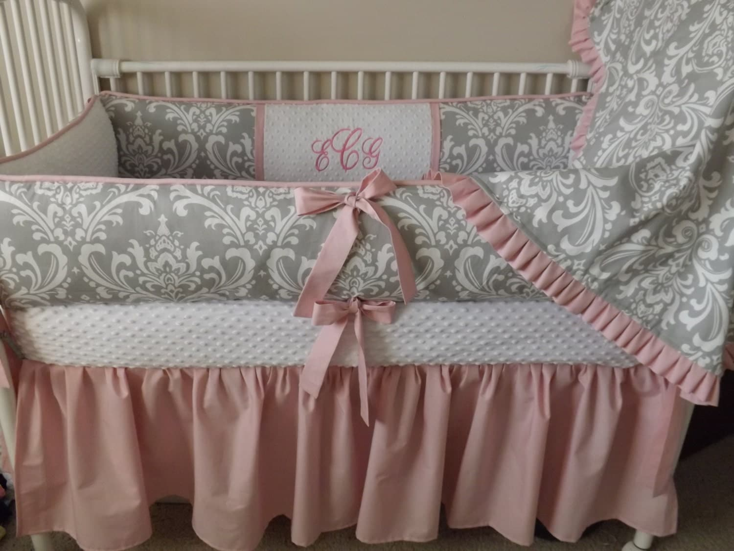 Pink And GRay Damask Baby Bedding Crib Set DEPOSIT Down