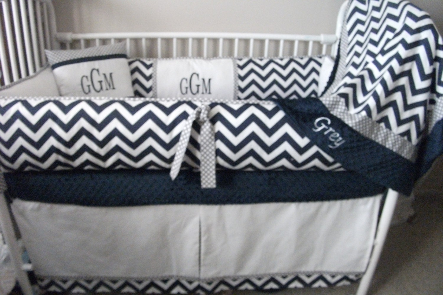 Navy Blue Gray And White Chevron Boy Baby Bedding Crib Set