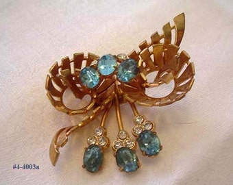Vintage Turquoise and Clear Rhinestone Flower Brooch (4-4003) Free Ship