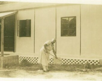 Old Lady Raking Her Front Yard Lawn Grandmother Garden Dress 40s Vintage Photo Photograph