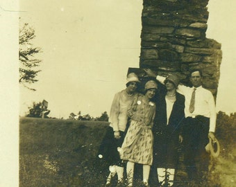 1920s Family Posing With Stone Rock Brick Chimney Farm Furnace Outside Cooking Antique Black White Vintage Photo Photograph