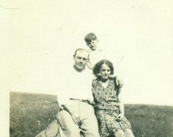 1920s Flapper Family Sitting on a Large Rock Mountain Meadow Vintage Photo Black and White Photograph