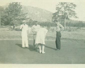 Golfing Woman Putting Men Watching Golf Course Vintage Photo Black and White Photograph