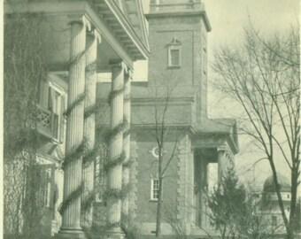Christmas Decorations on Town Building Columns Church Antique Picture Vintage Photo Snapshot Black White Photograph