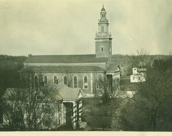 Large Church in Town Brick Steeple Winter  Antique Picture Vintage Photo Snapshot Black White Photograph