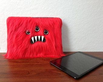Red iPad MINI Monster Sleeve (Three Turquoise Eyes)