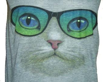 Cat in Sunglasses Mens Tank Top American Athletic Gray