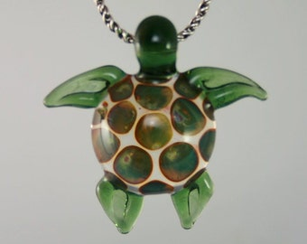 Lampwork Boro Glass Sea Turtle Pendant - Visionary Glass Arts