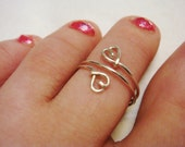Sterling Silver Toe Ring   Heart Ring   Double Heart Toe Ring  Sterling Silver Jewelry   Beach Jewelry