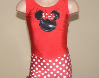 Little Dancer Skater Celebration Biketard with Minnie Mouse Applique. Toddlers Girls Gymnastics Biketard. Performance Costume. SIZES 2T - 12