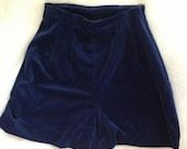 Vintage Lilianne Velour Cerulean High-Waisted Flare Shorts