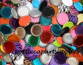 100 SCRATCHED FLATTENED FLAT  Color Bottle Caps For Crafts.  New Unused  Bottle Caps
