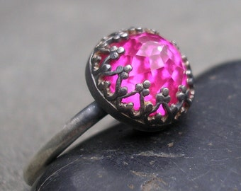 Pink Topaz Ring- Sterling Silver, Filigree Fancy Bezel, Pink Rose Cut Gem Silver Ring, Bright Pink Stone Ring,  Handmade. US size 7 or 9.