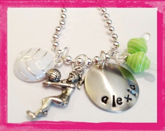 Hand Stamped Charm Necklace-Volley Ball Personalized Jewelry for girls #S51