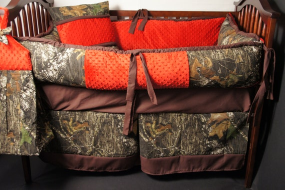 Items Similar To Custom Made Baby Crib Bedding Mossy Oak Camo With Red Minky On Etsy