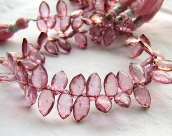 Pink Mystic Quartz Marquise Briolettes, 8 inches, 10 - 11mm (12k32)