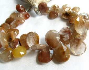 Copper Rutilated Quartz Pear Briolettes, Full Strand 10-16mm Beads (4w43)