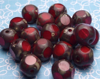SALE - Cherry Picasso Glass Beads 8mm - 8pc