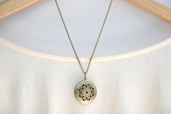 Bridesmaid Jewelry Brass Filigree Bridesmaid Locket // Bridesmaid Gifts // Bridesmaid Necklaces // Long Layering Necklace // Vintage Style