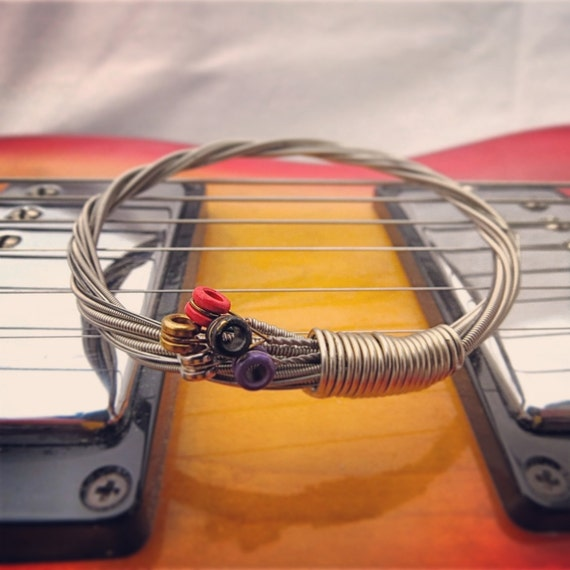 recycled electric guitar string bracelet silver colored with. Black Bedroom Furniture Sets. Home Design Ideas