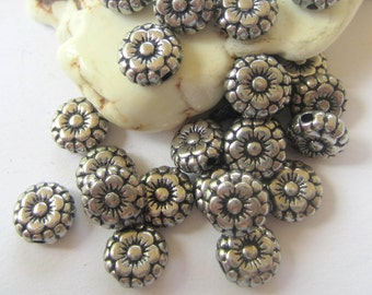 30 Silver metal beads spacers  jewelry making supplies 7mm x 3mm lead free nickel free silver flower beads (T4)