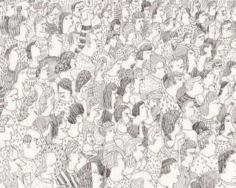 Audience / Group of people / Crowed / Pen drawing / Black and white / All together / Funny characters / Everybody