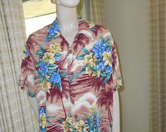 Large Cotton Hawaiian Shirt - Brown w/Blue/Yellow Floral Pattern