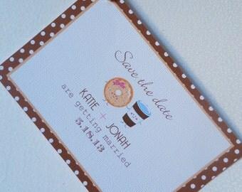 Save the Date Wedding Card, Donuts & Coffee, DIY, Printable