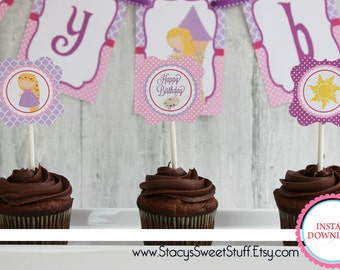 Rapunzel Cupcake Toppers, DIY, Printable, INSTANT DOWNLOAD