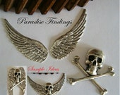 Gothic Jewelry Supplies, Skull, 1 13/16 inch Wings, USA Metal Stampings, Necklace Or Brooch Components, Bracelet Parts, Embellishments