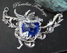Necklace, My Precious, Sapphire Jewel Or Choice Of Jewel Color, Dragon Necklace Supply, Original Jewelry Pendant, Silver ox, Hand Made