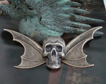 Skull And Wings Necklace Supply, Gothic Pendant Or Brooch, Metal Bonded, Quality Vintage Silver Ox, USA Brass, Ring on Back Of Skull or Pin
