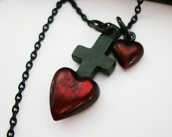 Gothic Heart to Heart Cross Necklace. Custom and Unique Pendants, USA Metals, Hand Made