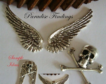 """Gothic Jewelry Supplies, Skull, 2 1/16"""" Wings, USA Metal Stampings, Necklace Or Brooch Components, Bracelet Parts, Embellishments"""